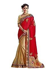 Vipul Heavy Embroidery Red & Gold Net Half & Half Saree