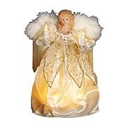 Kurt Adler 9-Inch 10 Light Ivory and Gold Angel Treetop