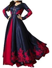 Royal Export Women's Bangalori Silk Anarkali Semi-Stitched Salwar Suit