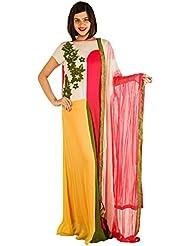 Zahara Merchant Stitched Multicolor Georgette Embroidered Kurta Churidar Set