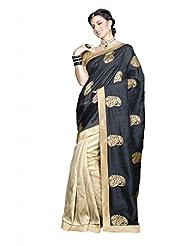 Cream Tussar Silk Weaved Saree In Cream Weaved Pallu & Golden Border-SR6288