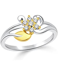 Classic Flowery Dreams Gold & Rhodium Plated Ring For Women [CJ1029FRRG]