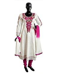 Magenta Parsi Embroidered Neckline On Off-White Self Design Cotton Full Sleeve Anarkali Kurta With Magenta Churidar...