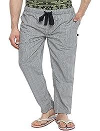 Blue Wave Cotton Black And Off White Checks Pyjama