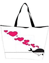 Snoogg Abstract Illustration Of Whale With Hearts Waterproof Bag Made Of High Strength Nylon
