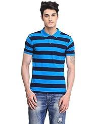 BRAVEZI Men's Striped Slim Fit Polo T-Shirt