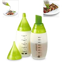 Emerging-creative Food Decorating Squizee 2 Silicone Bottles W/Fine,Wide Pastry Brush Nozzle With Measurement
