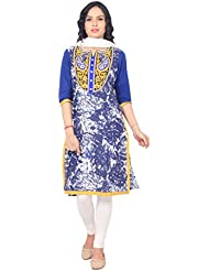 Rama Designer Embroidered And Printed Kurti With Legging And Dupatta Suit Set