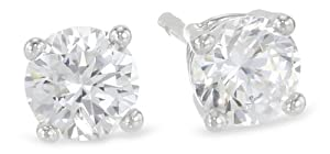 Platinum Plated Sterling Silver Round Cubic Zirconia Studs (1 cttw)