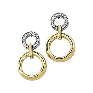 IceCarats Designer Jewelry 14K Yellow White Gold 14K Two-Tone 1/6 Ctw Diamond Earrings. Pair 1/6Cttw