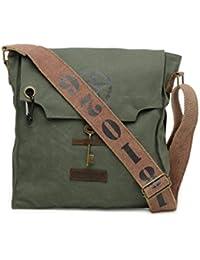 The House Of Tara 100% Cotton Canvas Messenger Bag In Distress Finish (Moss Green) HTMB 072