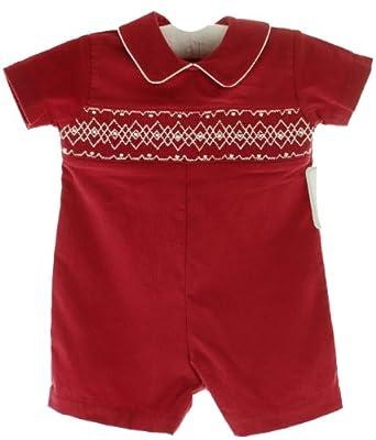 Amazon.com: Baby Boys Red Smocked Corduroy Christmas ...