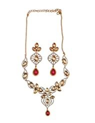 Alkafashionjewels Necklace Set With Fusion Of Kundan, Cz Stones And Pink Stones For Women