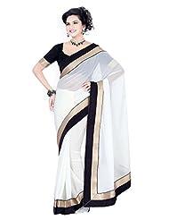 Janasya Women's White Colour Chiffon Saree With Velvet Border