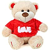 Absoluteplay Cute Teddy Bear With Red T-Shirt And Embroiderey I Love U Soft Toy -H 37cm