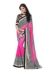 Rajnandini Multicolor Bemberg Poly Georgette Digital Print Saree With Pure Heavy Silk Border & Pure Heavy Silk...