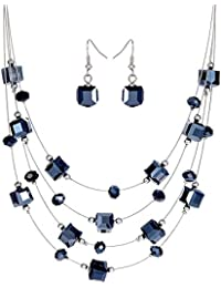 Shining Diva Fashion Party Wear Crystal Necklace Set / Jewellery Set With Earrings For Girls / Women