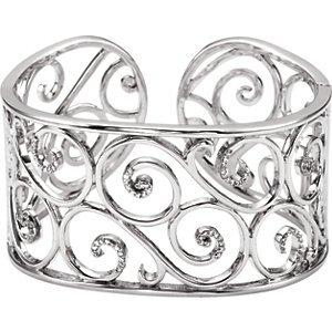 Genuine IceCarats Designer Jewelry Gift Sterling Silver 7 Inch Diamond Cuff Bracelet 7 Inch 7 Inch Diamond Cuff Bracelet In Sterling Silver