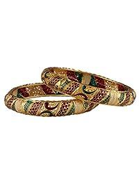 Glory Jewels Glod Plated Bangles With Butifull Meena Handwork Design