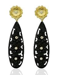 Aastha Jain Black Resin Carved Sterling Silver(18k Gold Polish) Earring For Women