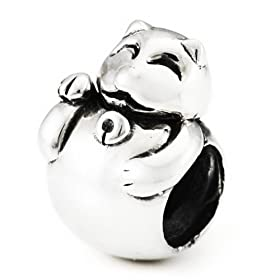 Auth OHM Sterling Silver Lucky Cat Charm fits Pandora Chamilia Troll Bracelets
