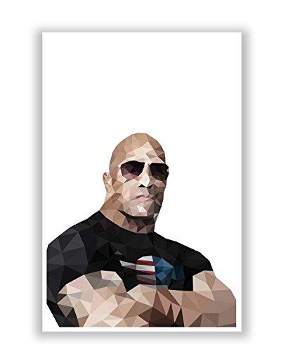 PosterGuy Rock Dwayne Johnson Poly Art Art Illustration Poster (A4)