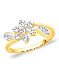 Peora Gold Plated Flower And Leaf Ring Made With SWAROVSKI ZIRCONIA (PGR2680)
