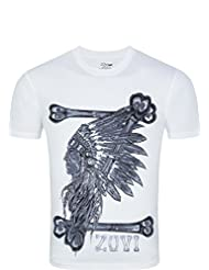 Zovi Men's Cotton Tribal Bones White Graphic T-shirt (11467807901)