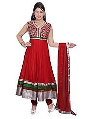 Divinee Red Net Readymade Anarkali Suit