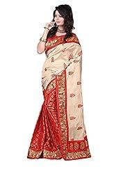 Roop Kashish Art Bhagalpur Silk Saree(Mf909_Beige And Red)