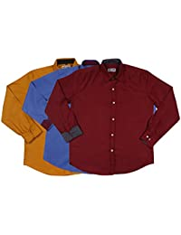 Mark Pollo Cotton Rich Fabric With Linen Look Slim Fit Formal And Semi Formal Combo Of 3 Shirts For Men (Mustard...
