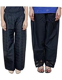 IndiWeaves Women Full Cotton Chikan Black Palazzo With Cotton Black Chaudi Lace Semi- Patiala Salwar - Free Size (Pack Of 1 Palazzo With 1 Patiala Salwar) - B01GL24NYO