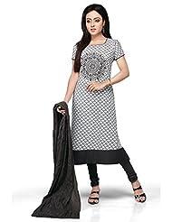Vastra Vinod White And Grey Cotton Readymade Kurti With Legging