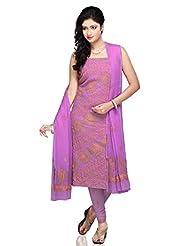 Utsav Fashion Women's Purple Faux Georgette Churidar Kameez- - B00NBPT38G