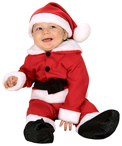 Fleece Baby Santa Romper Costume and Hat, Red/White