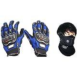 Pro-Biker Bike Riding Gloves Blue (XL) And Neoprene Face Mask Black