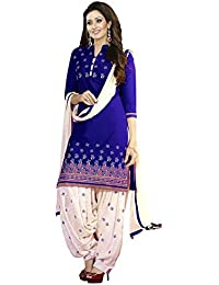 Shiroya Brothers Women's American Crepe Printed Dress Material- Blue And Off-white Salwar Suit Dupatta (SB_DM_...
