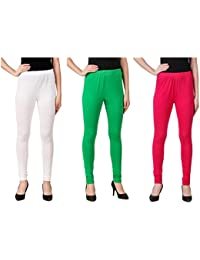 Svadhaa White Green Dark Pink Cotton Lycra Leggings(Pack Of 3)