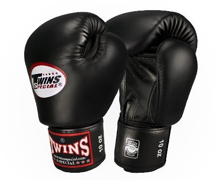 Twins Special Boxing Gloves Velcro (Black) (14 ounce)