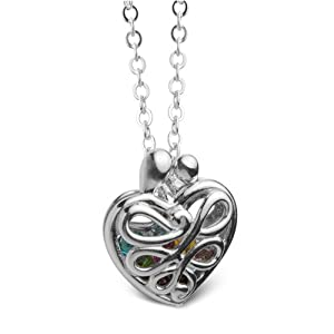 Loving Family® Sterling Mother's Heart Locket with Set of 12 Birthstones - Large
