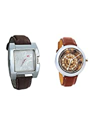 Gledati Men's White Dial & Foster's Women's Brown Dial Analog Watch Combo_ADCOMB0002273