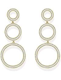 Real Diamond Look Alike Trio Circle Cubic Zirconia Stones Dangler Earring By Zaveri Pearls - ZPFK5340