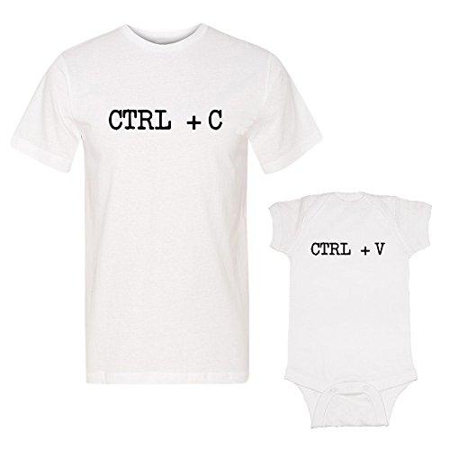 We Match! Ctrl + C & Ctrl +V (Copy/Paste) Adult T-Shirt & Baby Bodysuit Set (12 Months Bodysuit, Adult T-Shirt Medium, White)