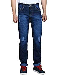 Studio Nexx Men's Distressed Slim Fit Jeans (Blue Tint)