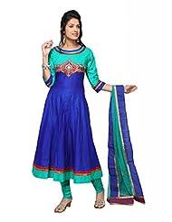 Rama Green/Royal Blue Cotton Anarkali Salwar Kameez For Ladies