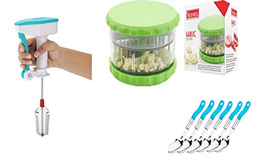 NESTWELL Power Free Blander WITH Garlic & Multi Crusher (ABS) WITH Dessert Spoon (Deluxe) (6 Pcs. Set)