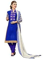 Surat Tex Blue Color Embroidered Bhagalpuri Silk Un-Stitched Dress Material