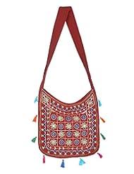 Rajrang Stylish Cotton Embroidered Circles Maroon Sling Bag - B015PK97L2