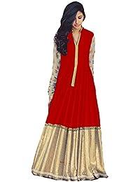 LATESTS DRESSES BHAGALPURI SILK ANARKALI STYLE SEMI STITCHED SUIT WITH CHIFFON DUPATTA