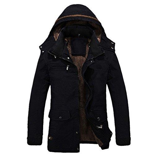 CRAVOG Winterjacke Herren Wintermantel Winterparka Steppjacke Beiläufige Kapuzenjacke Kapuzenmantel Kapuzenparka Warme Jacke Mantel Parka Outwear Oberbekleidung (XL, Schwarz)